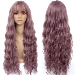 "OPIS 26"" DUST PINK BODY WAVE BANG COSPLAY WIG*NWT*"